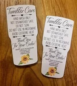 Tumbler Care Instructions Tumbler Care Card Tumbler Insert
