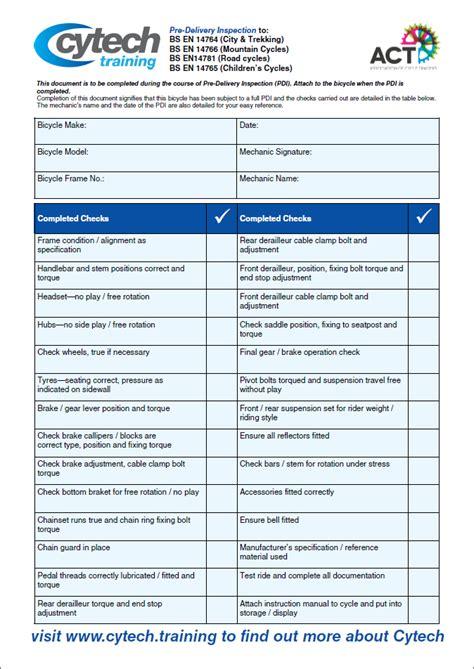 cytech training workshop resources pdi checklist