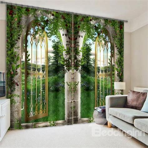 natural scenery print light blocking  curtain awesome