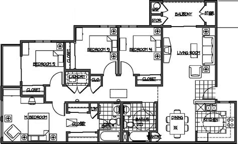 4 bedroom floor plans four bedroom house plans