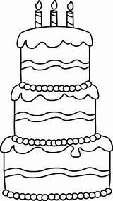 Cake Birthday Kleurplaat Taart Printable Clip Coloring Verjaardag Jarig Thema Pasta Zijn Tekenen Kleurplaten Anniversaire Colorare Clipart Okul Templates Cupcakes sketch template