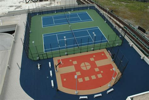 outdoor rooftop tennis court  basketball court installation flushing ny classic turf