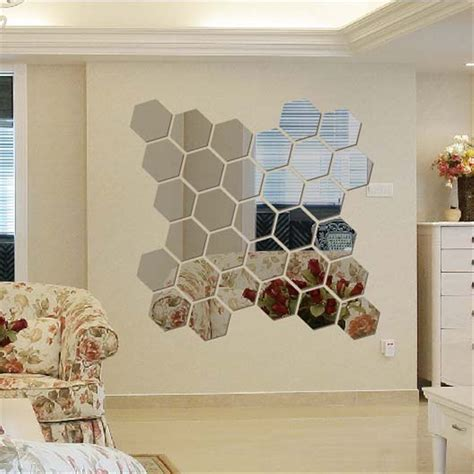 stickers miroir cuisine 12pcs 3d modern mirror geometric hexagon acrylic wall