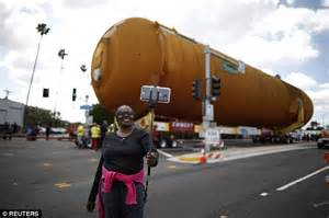 Space shuttle fuel tank travels Los Angeles streets to ...