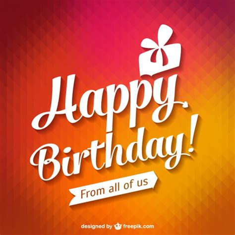 happy birthday typography card vector free download