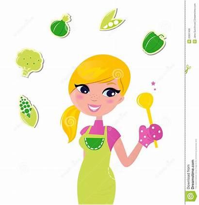 Healthy Cooking Woman Clipart Preparing Cartoon Health