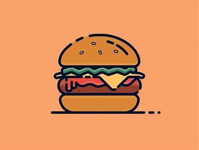 Burger Illustration Dribbble Burgers Icon Graphic Vector