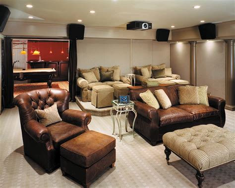 Elegant Loveseat Recliner In Home Theater Contemporary