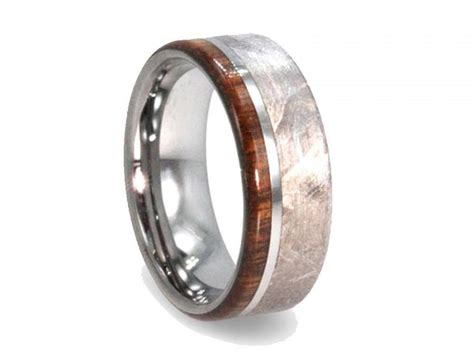 Handmade Meteorite Ring, Mens Wood Ring, Tungsten Wedding