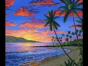 Strandbilder Auf Leinwand : so zeichnen ein tropischer strand sonnenuntergang mit acryl auf leinwand youtube ~ Watch28wear.com Haus und Dekorationen