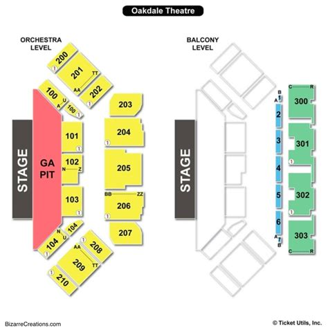 toyota oakdale theatre seating chart seating charts