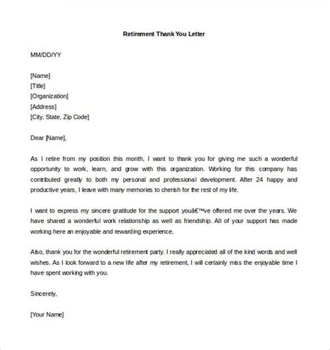 retirement letter template  word  documents