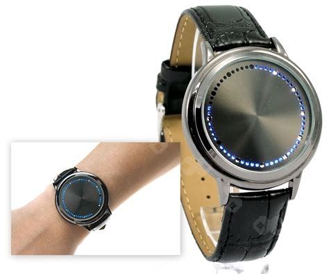 Blue Led Unisex Mens Women Touch Screen Real Leather Wrist