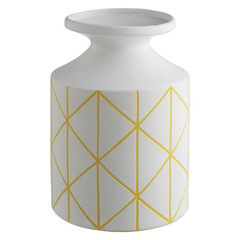 Yellow And Grey Vase by Grid Yellow And White Patterned Ceramic Bottle Vase Buy