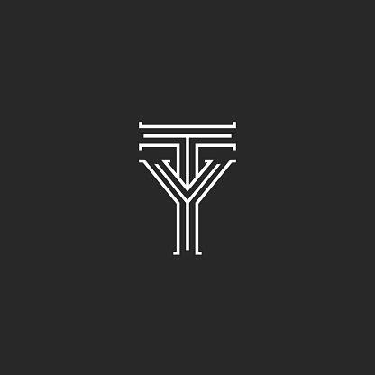 monogram initials ty yt letters logo design elegant  overlapping letters combination