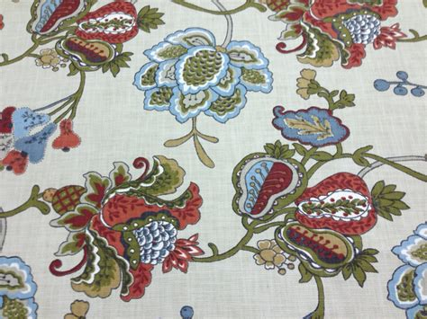 jacobean floral curtain fabric terra cotta jacobean fabric upholstery fabric by the yard