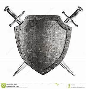 Aged Metal Knight Shield With Two Crossed Swords Coat Of ...