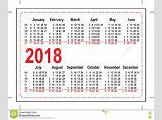 Siatki Kieszeni Kalendarz 2018 Ilustracja Wektor Obraz