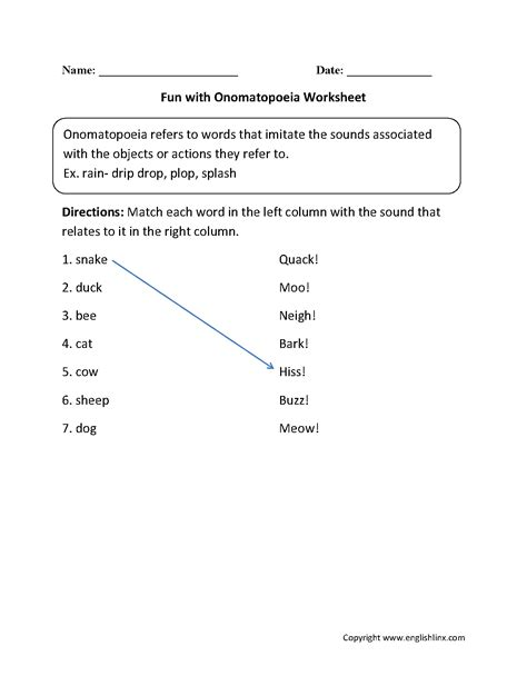 figurative language worksheets onomatopoeia worksheets