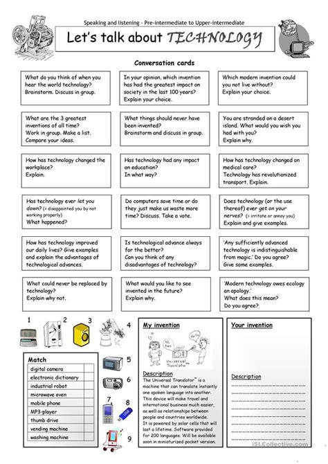 51 free esl inventions worksheets