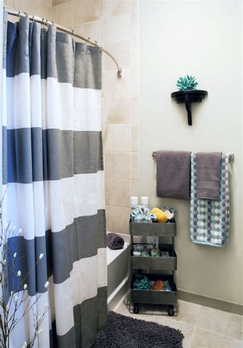 white and grey shower striped curtain home decorating