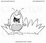 Grass Flea Cartoon Clipart Coloring Cory Thoman Vector Outlined Royalty sketch template