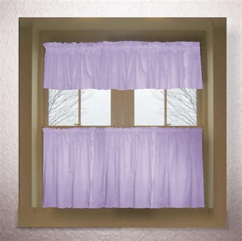 Light purple lilac color tier kitchen curtain two panel set