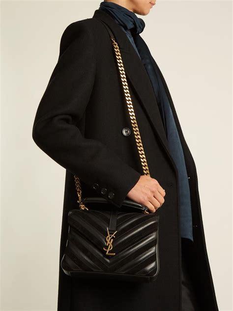 saint laurent ysl college medium leather  suede   shoulder bag  tradesy