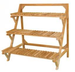 tiered outdoor indoor plant stand eucalyptus wood patio planter shelf 3 tier jewels of java