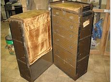 WARDROBE STEAMER TRUNK 1920's Large Vintage Wheary