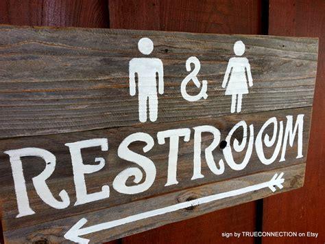 Rustic Restroom Sign Wedding Signs Outdoor Bathroom Sign