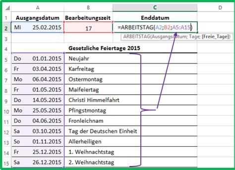 excel datum mit der funktion arbeitstag berechnen