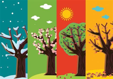 Four Seasons Abstract Trees - Download Free Vectors ...