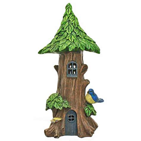 solar powered tree house with blue bird house