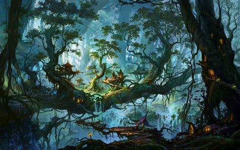 fantastic world trees fantasy nature city art artwork