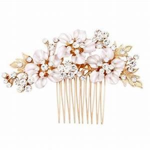 Gold Flower Bridal Hair Comb Wedding Hair Accessories