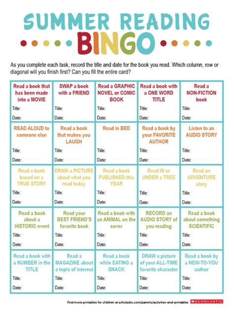 summer reading bingo printable worksheets printables