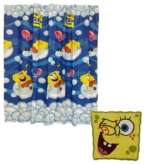 spongebob squarepants bath rug shower curtain set