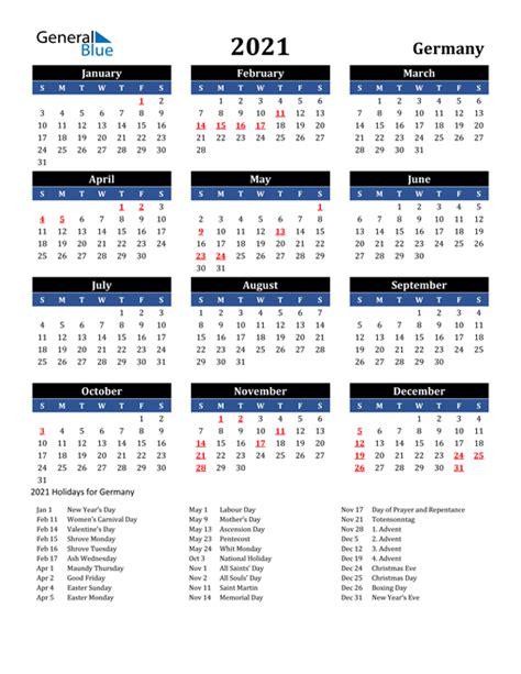 calendar germany  holidays