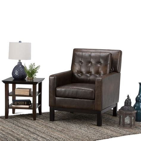 simpli home carrigan distressed brown bonded leather club
