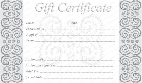free printable photography gift certificate template editable and printable silver swirls gift certificate template