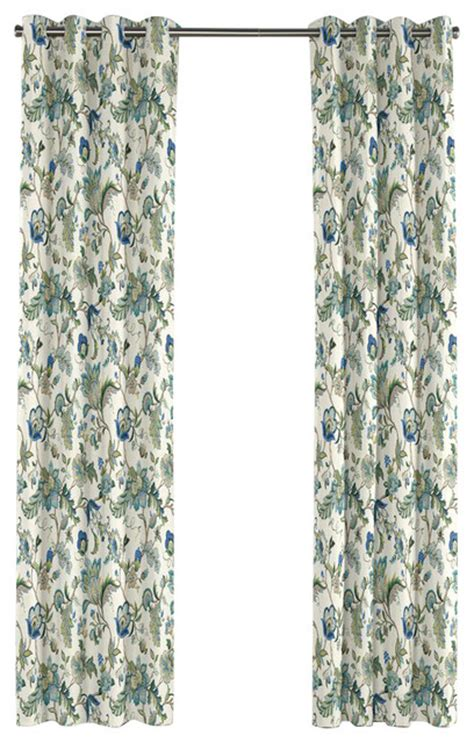 Jacobean Floral Design Curtains by Jacobean Blue Floral Grommet Curtain Traditional