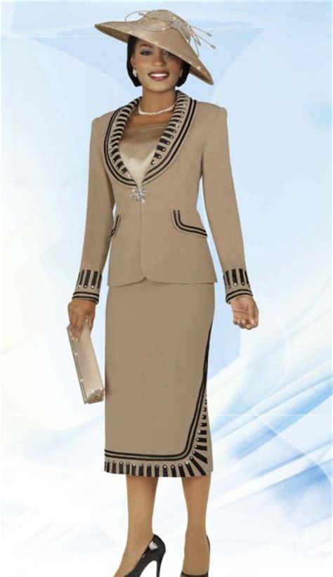 benmarc intl  womens taupe  black church suit