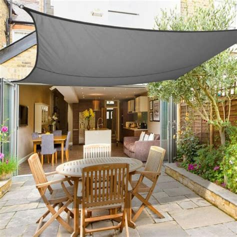 grey square xxm retractable sun shade shelter gsm hdpe farbic garden awning canopy