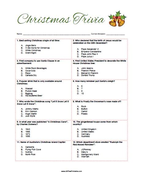 Christmas Trivia Game  Free Printable Allfreeprintablecom