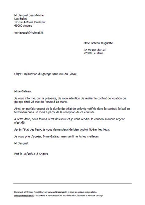 modele lettre préavis 1 mois logement lettre type gratuite de r 233 siliation d un bail de parking