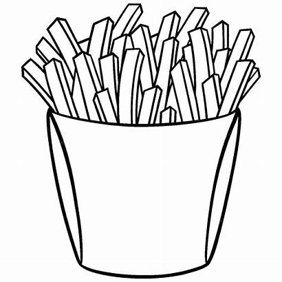 Fries French Coloring Pages Drawing Character Cartoon