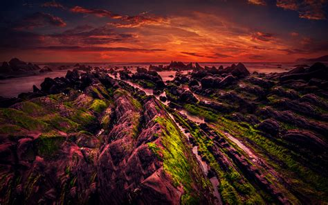 Rocky Shore Sunset 5k Wallpapers  Hd Wallpapers  Id #18943