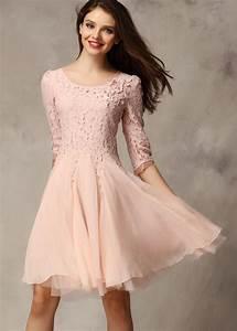 Pink Coctel Half Sleeve Lace Bead Chiffon Babydoll Dress ...