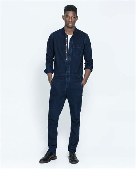 mens jumpsuit zara denim jumpsuit with faux leather in blue for lyst
